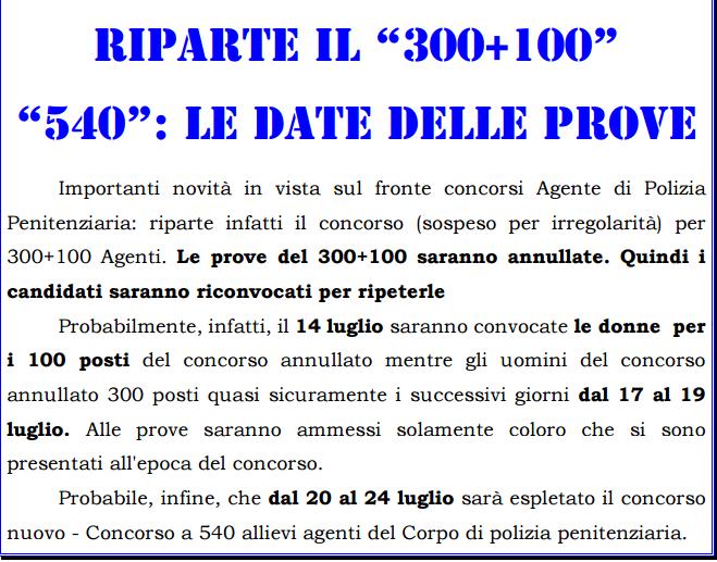 Calendario Concorso Polizia.Concorso 300 100 Allievi Agenti Polizia Penitenziaria